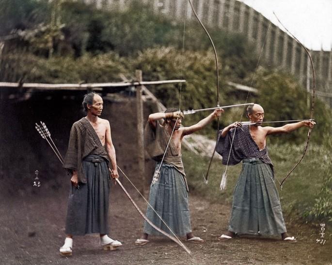 Samurai em treinamento, de 1860