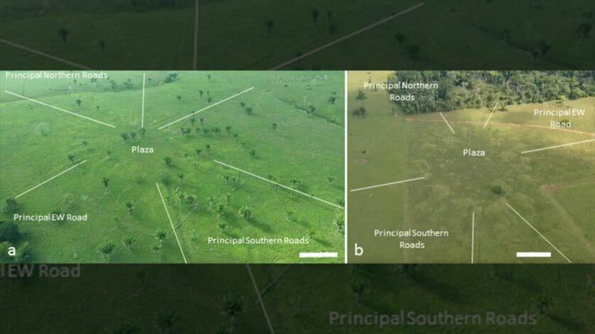 Una vista di villaggi rotondi in Amazzonia