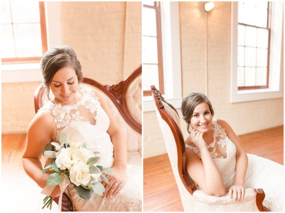 classy bridal session at The Laboratory Mill in Linconlton, NC