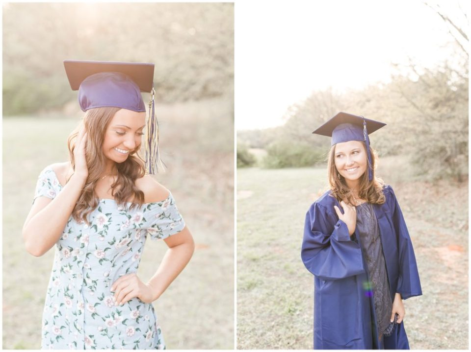 spring senior session with two sisters and a friend and their cap and gowns