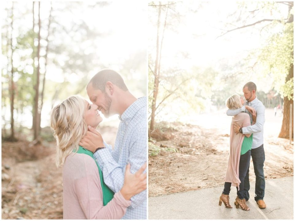 jetton park joyful engagement session lake view and greenery