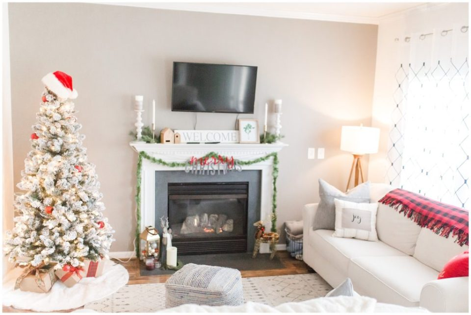 christmas tree in living room for HYPimages holiday home tour