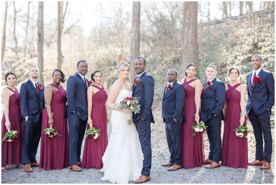 bridal party, beautiful navy and burgundy wedding at the laboratory mill with hypimages