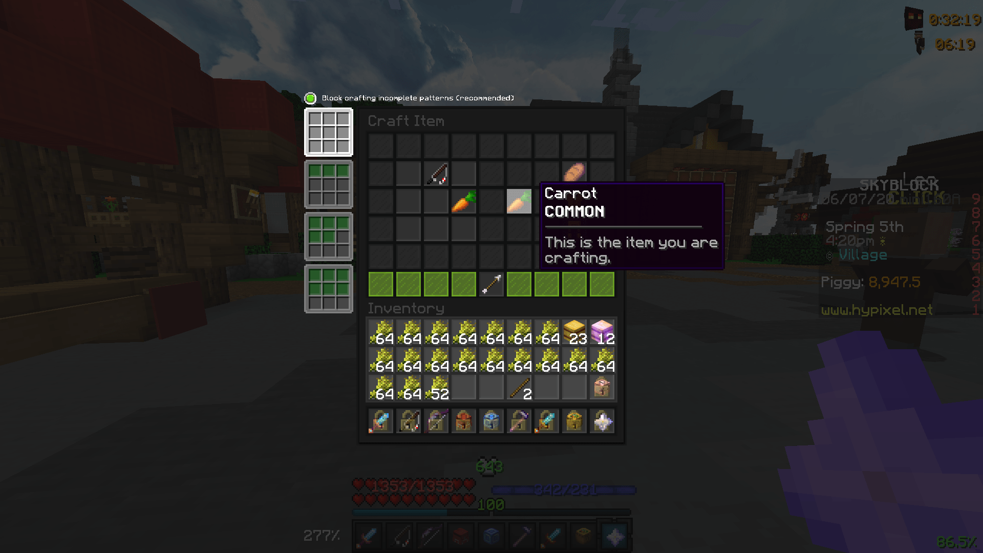 Why Can You Craft A Carrot On A Stick In The Menu Craft Hypixel Minecraft Server And Maps