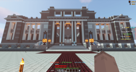 Small village with a modern big town hall Hypixel Minecraft Server and Maps