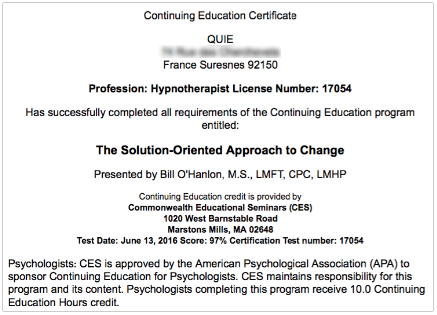 Bill O'Hanlon's SOAC Certificate