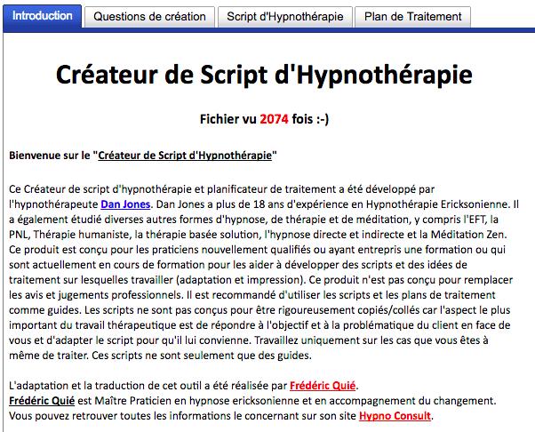 créateur de script d'hypnothérapie