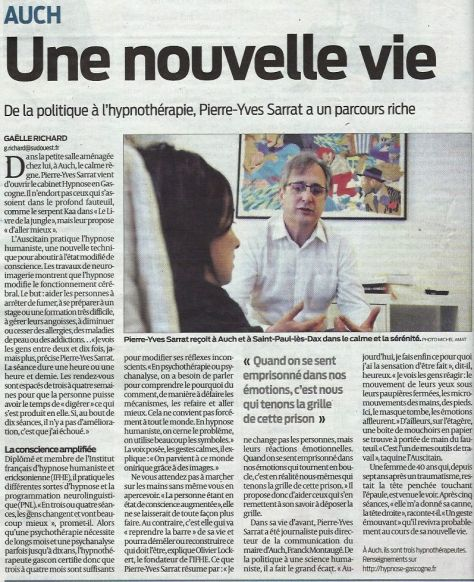 article sud-ouest 14 avril 2015, hypnose à Auch
