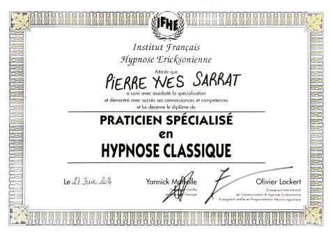 diplôme d'Hypnose classique délivré à Pierre-Yves SARRAT par l'Institut Français d'Hypnose Humaniste et Ericksonienne