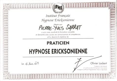 diplôme d'Hypnose éricksonienne délivré à Pierre-Yves SARRAT par l'Institut Français d'Hypnose Humaniste et Ericksonienne