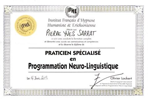 diplôme de Programmation Neuro-linguistique délivré à Pierre-Yves SARRAT par l'Institut Français d'Hypnose Humaniste et Ericksonienne