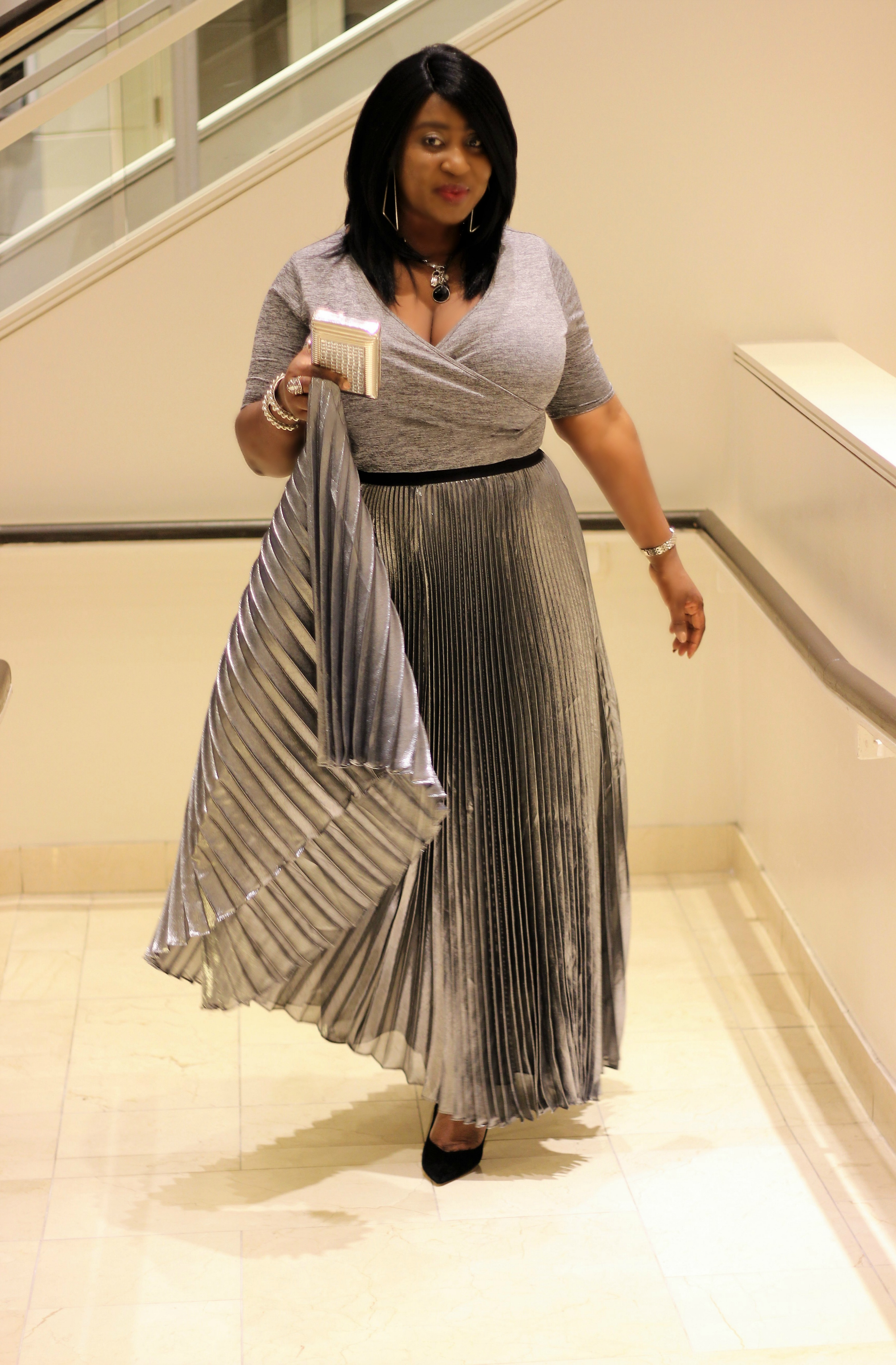 Valentines Day Look The Metallic Pleated Maxi Skirt