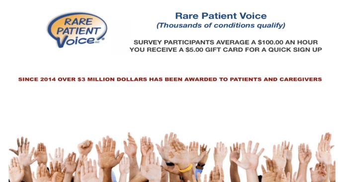 PAID SURVEY RARE PATIENT VOICE
