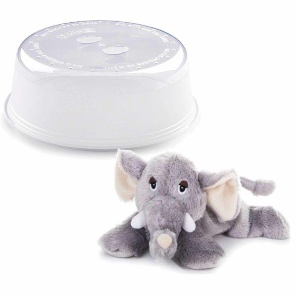 Magnetron warmte knuffel olifant grijs 18 cm met opwarm deksel