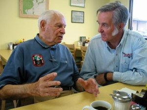 Konrad Dannenberg (original German Rocket Scientist) talks with Burt Rutan the morning after the successful SpaceShipOne first launch. I took Konrad to the launch that year. My all time favorite picture of two heros.