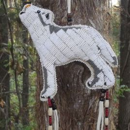 Beaded Native American made White Wolf