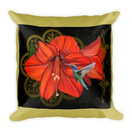 Vintage Hummingbird Lightness of being Square Pillow