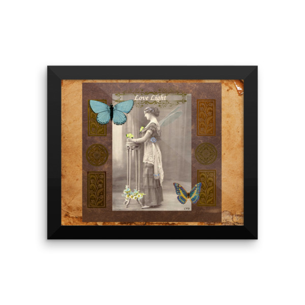 Love Light Vintage Fairy Framed photo paper poster