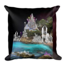 Inner Earth Crystal Palace Digital Art Square Pillow