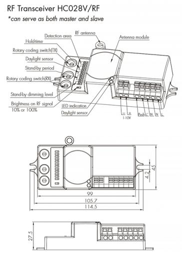 HC028V/RF HF sensor with RF wireless transmission