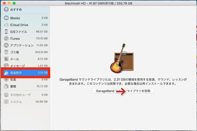 Mac OS High Sierra ストレージの管理