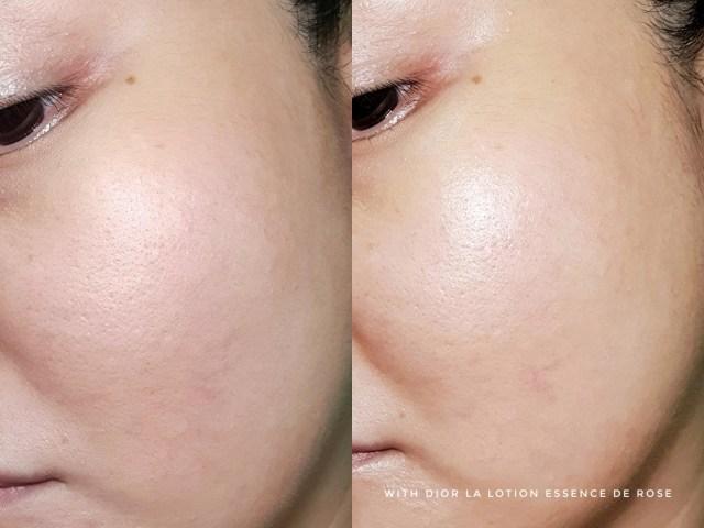 Dior Prestige La Lotion Essence de Rose before and after