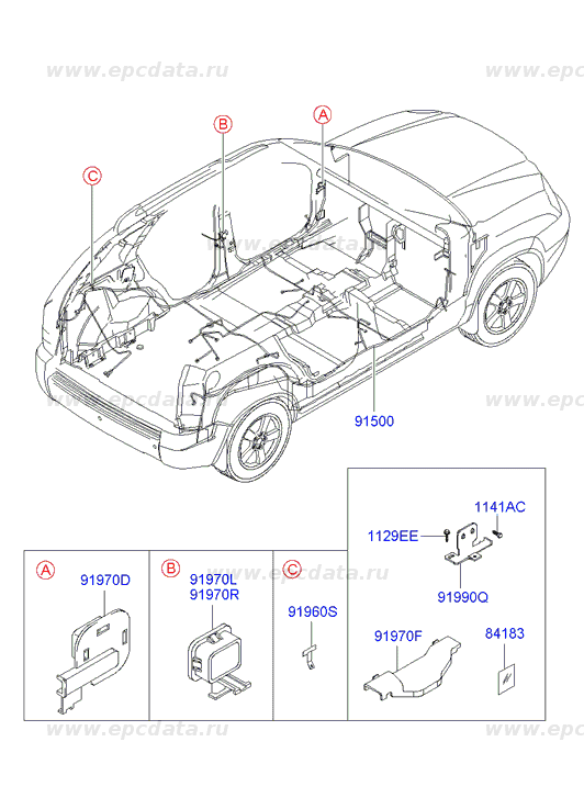 Wiring harness-floor на Хендай (Hyundai Ix35/tucson)