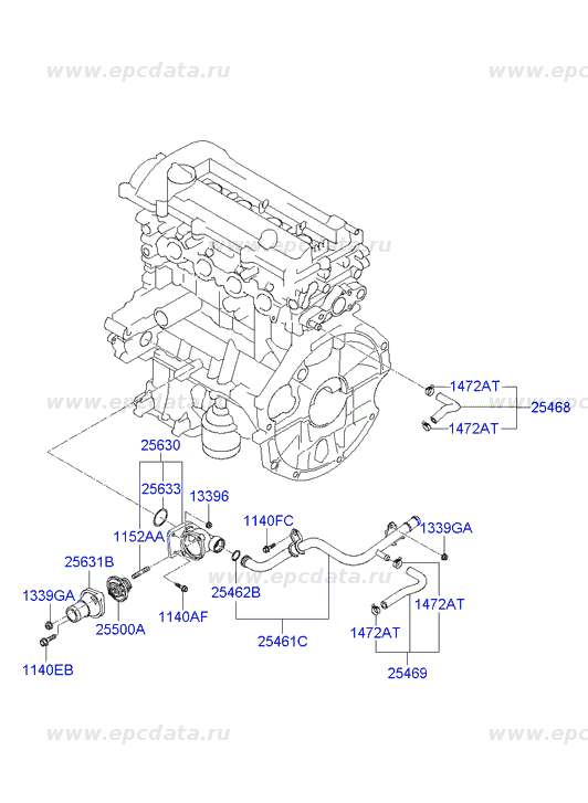 Fitting assy-coolant inlet на Хендай (Hyundai I10) 2563003010