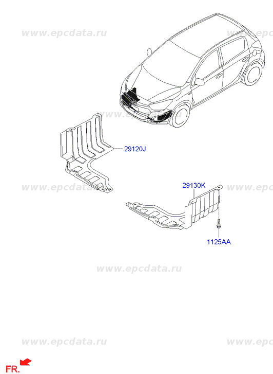 Pnl-Side cover,lh на Хендай (Hyundai I20) 291301J500