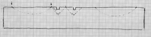 Skisse som viser korleis me valde å høvle spor med ploghøvelen for å starte V-fugene midt på lista. Skisse: Rune Hoflundsengen