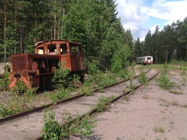 Paikallisjunan rungon puolikas taustalla
