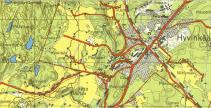 Vanha kartta vuodelta 1955, jonka perusteella rataa paikannettiin.