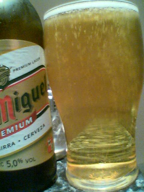 San Miguel poured into a glass
