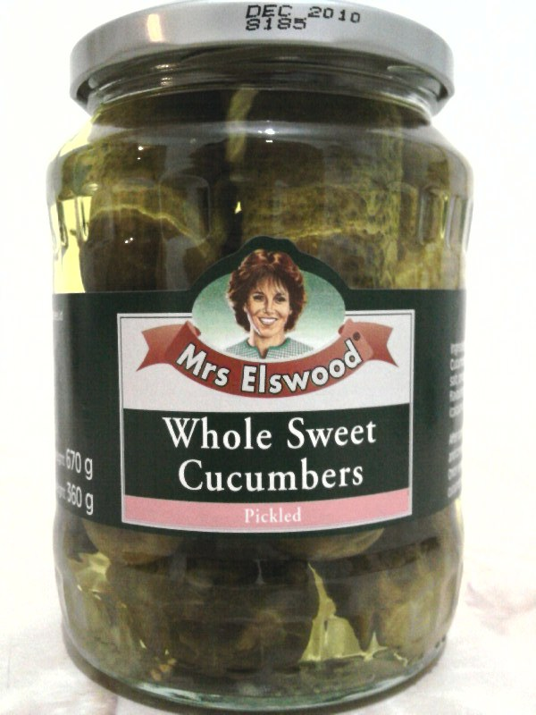 Mrs Elswood Pickled Whole Sweet Cucumbers jar