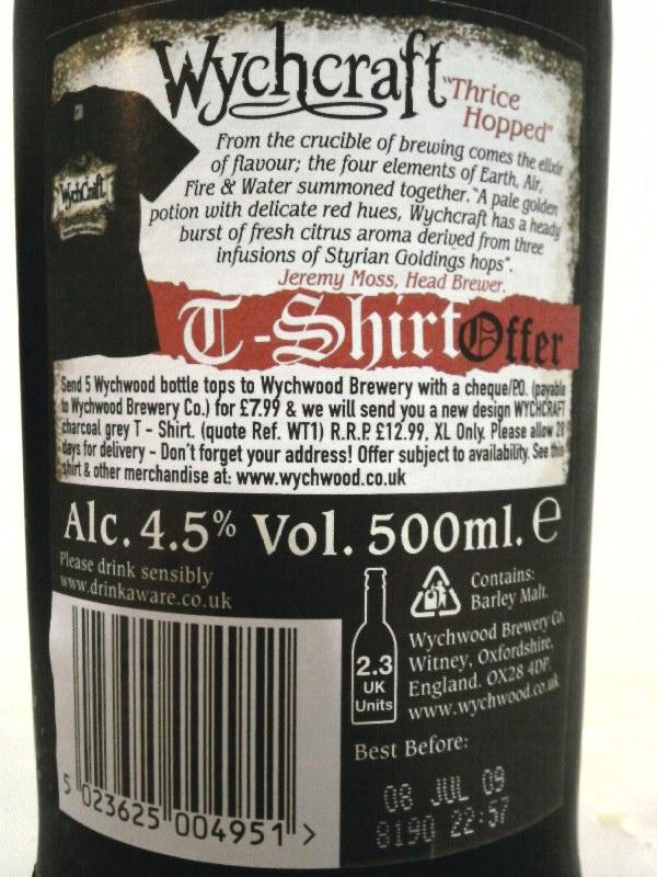 Wychwood Wychcraft Blonde Beer back label