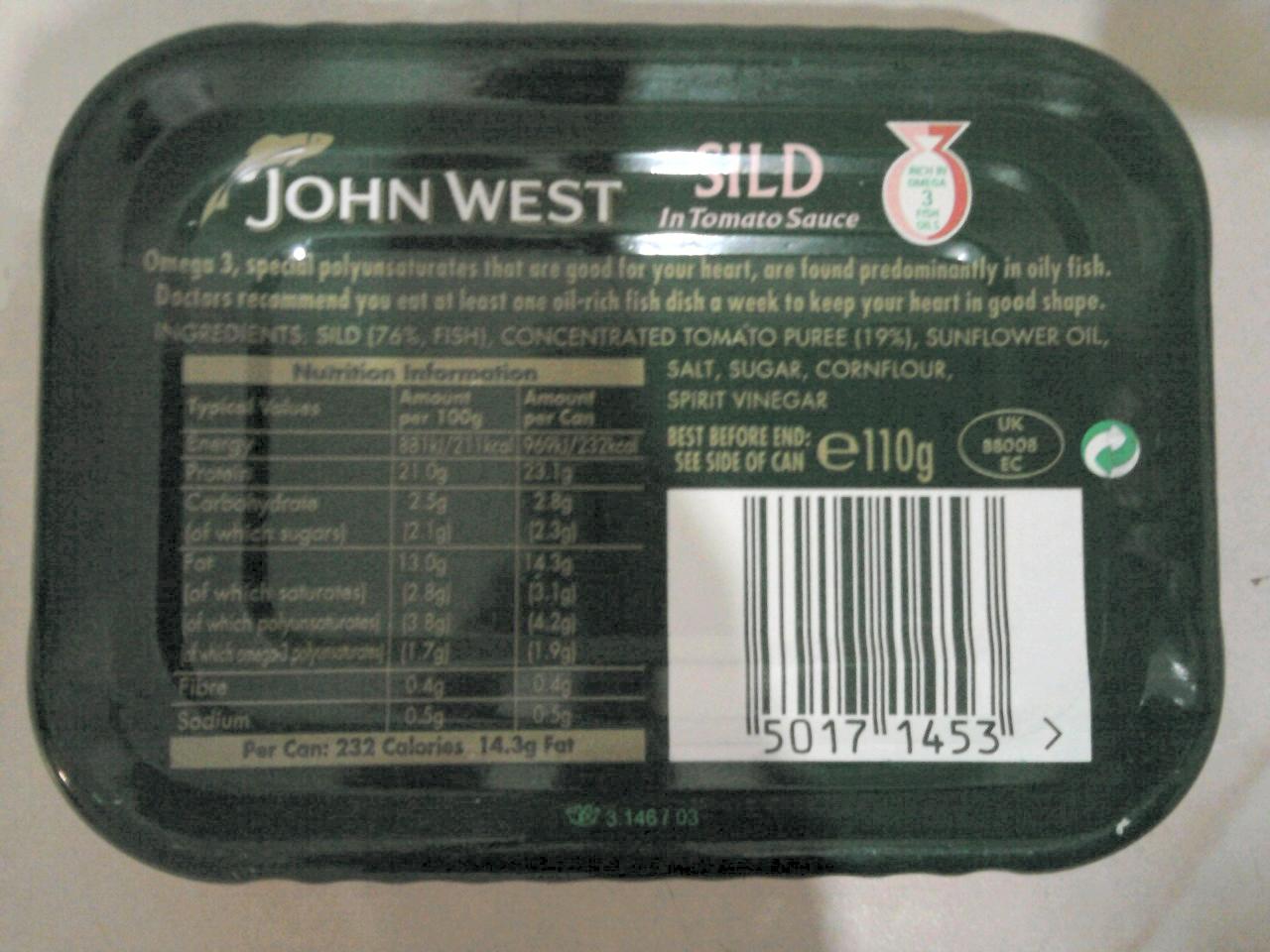 John West Sild In Tomato Sauce back of tin