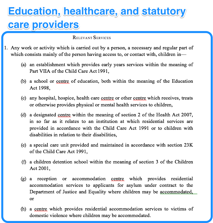 Education, healthcare and statutory care providers
