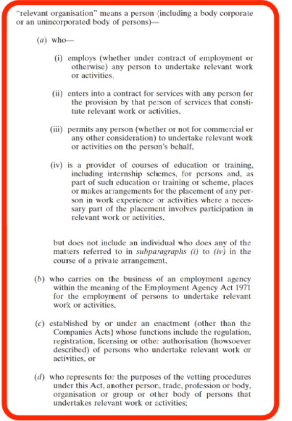 National Vetting Bureau Act - Relevant Organisation