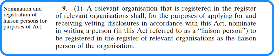 Appointment of a Liaison Person - National Vetting Bureau Acts