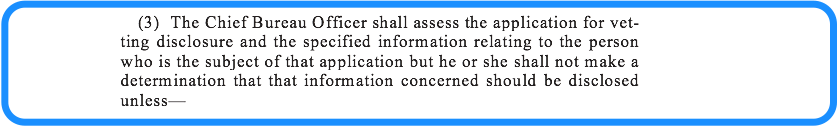 Specified Information section 15 vetting legislation