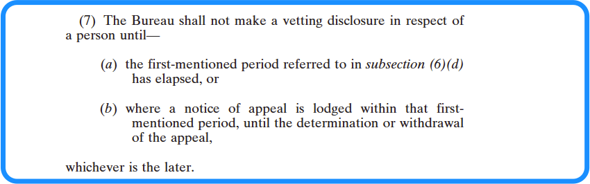 Section 15 specified information - vetting legislation