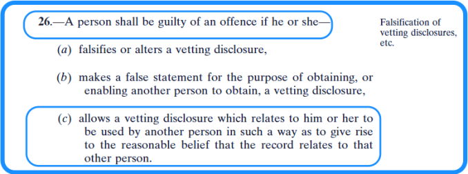 Criminal offences in the vetting legislation