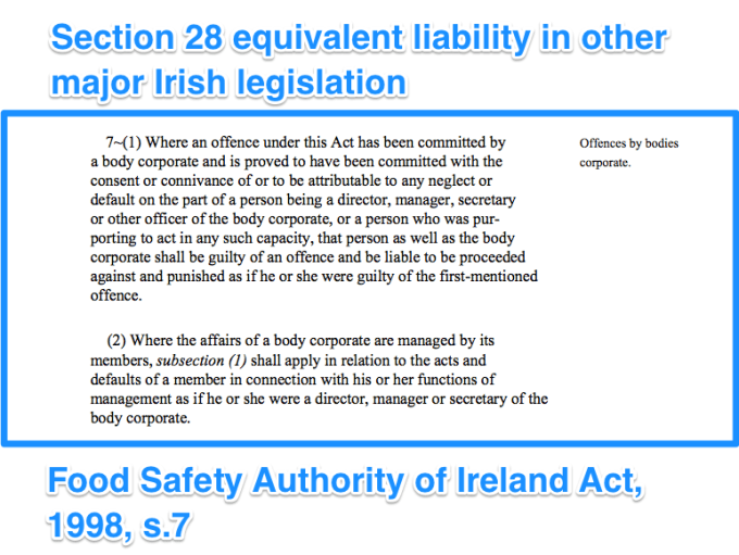 Food Safety Authority equivalent of section 28 liability