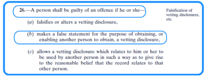 Vetting legislation section 26 offence