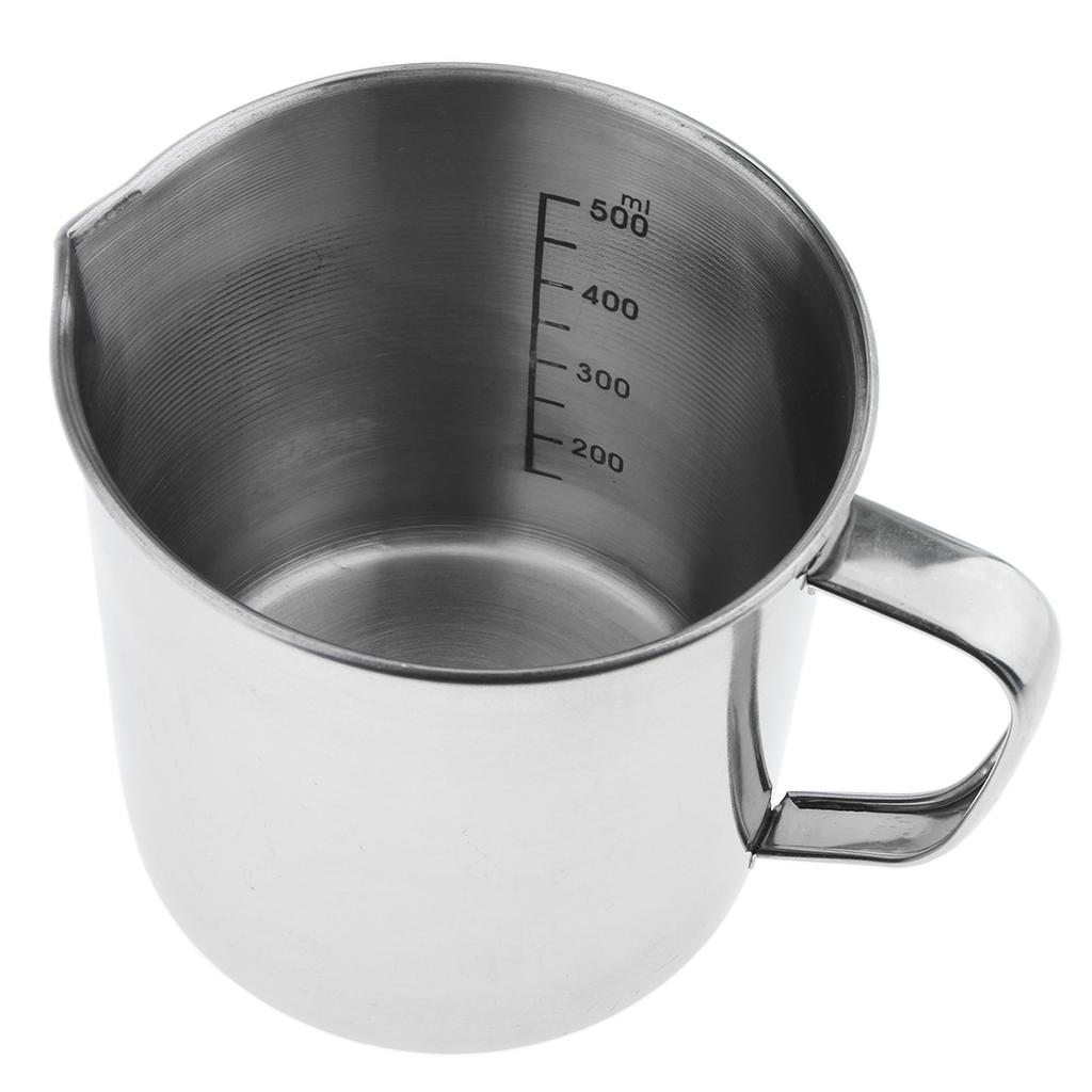 Stainless Steel Measuring Cup Frothing Pitcher Withmarking Kitchen 0.5 1 Liter