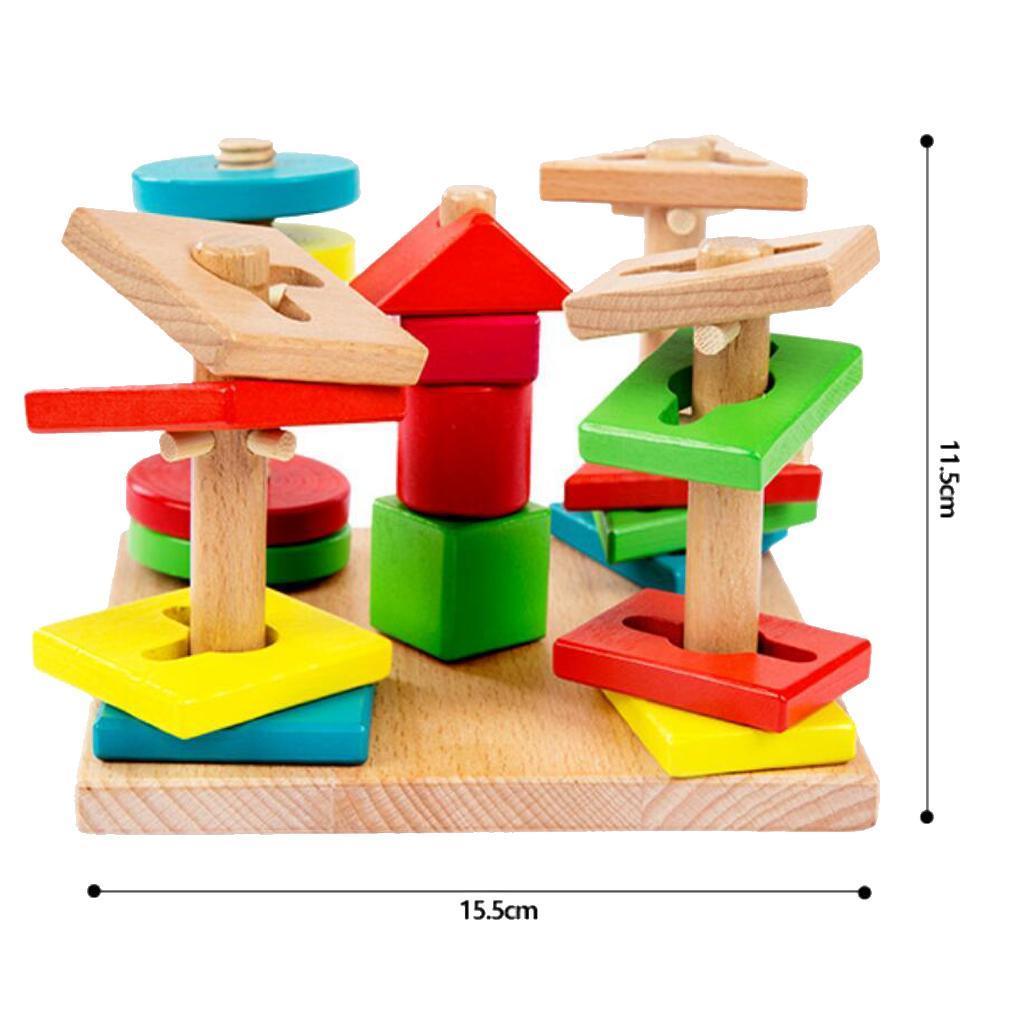Baby Toddler Montessori Toys Wood Tetris Puzzle Stacking