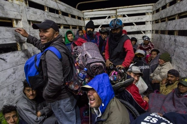 Central America Migrant Caravan truck going to Tijuana