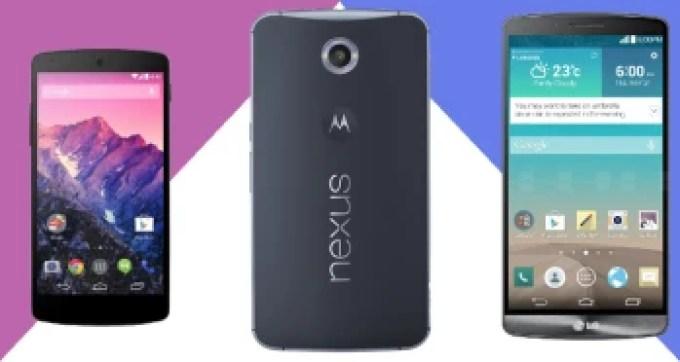 Google Nexus 6 vs Google Nexus 5 vs LG G3: specs comparison