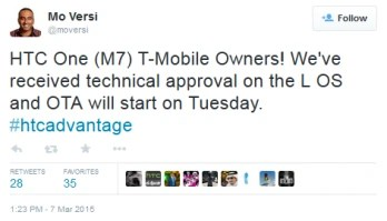 HTC's Mo Versi tweets the good news to T-Mobile customers with the HTC One (M7)