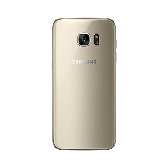 Samsung Galaxy S7 edge in gold.